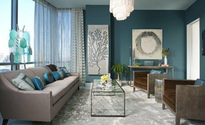 d co salon couleur peinture salon bleu p trole canap. Black Bedroom Furniture Sets. Home Design Ideas