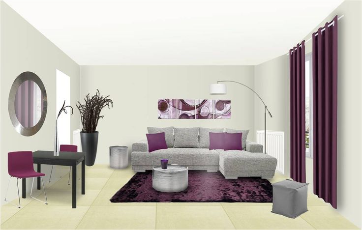 d co salon d co salon peinture couleur prune canap nuances de gris. Black Bedroom Furniture Sets. Home Design Ideas