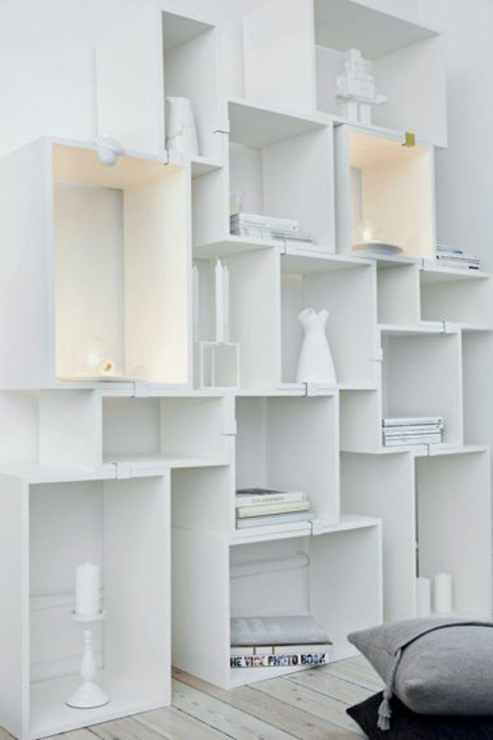 d co salon le cube de rangement en bois de couleur blanc. Black Bedroom Furniture Sets. Home Design Ideas
