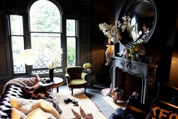 Déco Salon - peinture salon moderne en noir et gris, cheminée gris ...