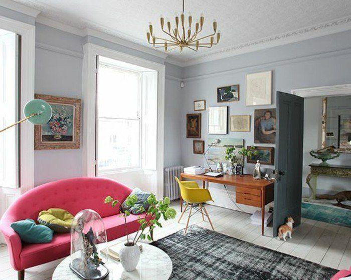 Déco Salon - quelle couleur pour un salon, joli canapé rose pour le ...