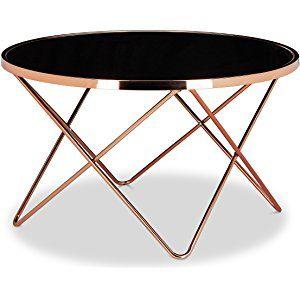 Relaxdays table basse ronde copper en cuivre et verre noir table appoint ronde c listspirit - Deco salon cuivre ...