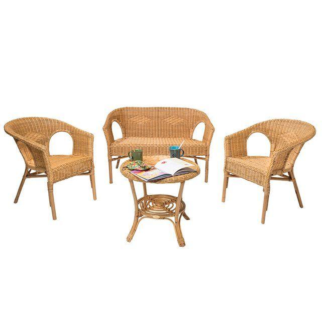 d co salon salon en osier couleur miel chris rotin design la redoute mobile. Black Bedroom Furniture Sets. Home Design Ideas