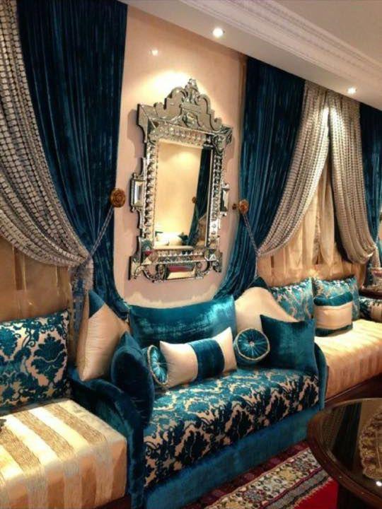 D co salon salon marocain vert turquoise beige amenda decor leading - Decoration salon 2017 ...