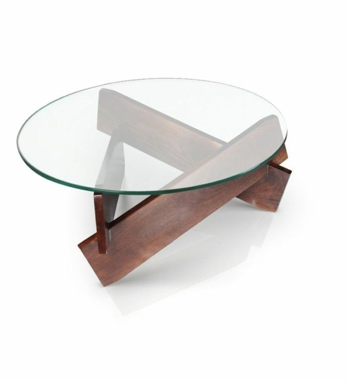 D co salon table basse bois et verre ronde pour le salon for Salon en bois moderne