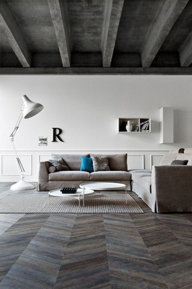 d co salon un salon moderne avec parquet point de hongrie fonc leading. Black Bedroom Furniture Sets. Home Design Ideas