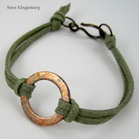 Diy Bijoux Rustic Copper Washer And Leather Bracelet