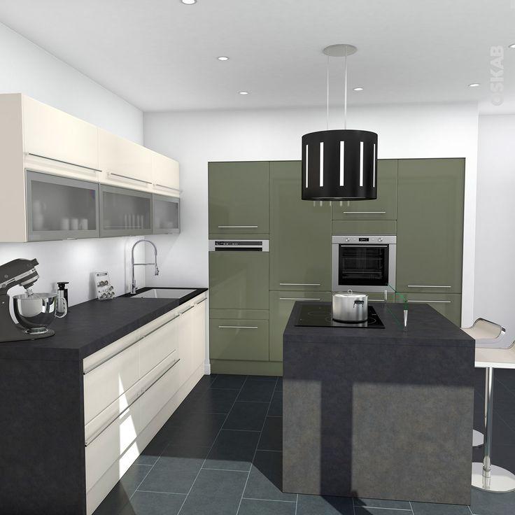 id e relooking cuisine cuisine verte et ivoire aux lignes design plan de travail d cor b ton. Black Bedroom Furniture Sets. Home Design Ideas