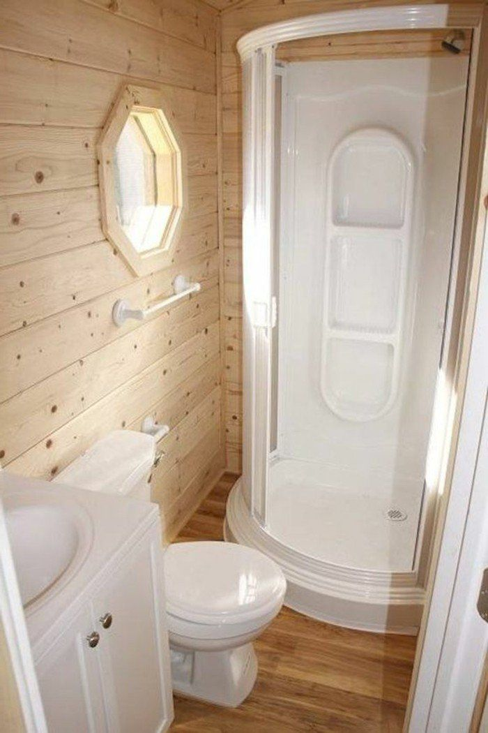 Id e d coration salle de bain am nagement petite salle de bain 2m2 en bois clair idee salle - Amenagement salle de bain 2m2 ...
