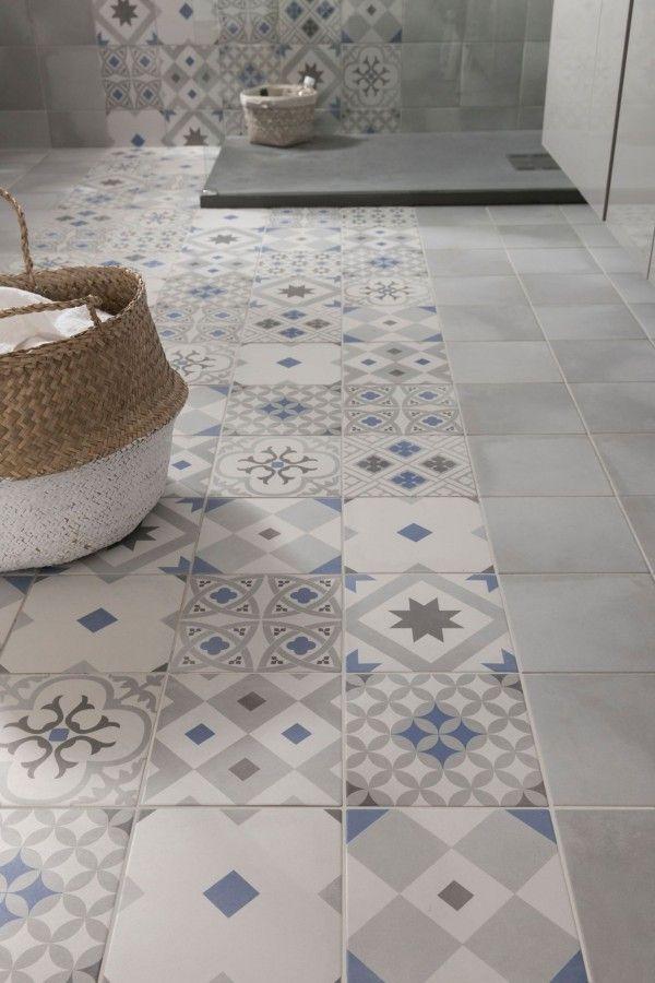 Idée décoration Salle de bain - Carrelage imitation carreaux de ...