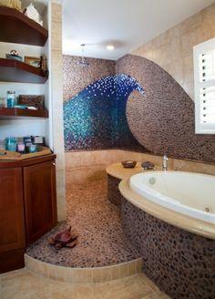 Description. Décoration Murale Mosaique, Une Salle De Bains Originale