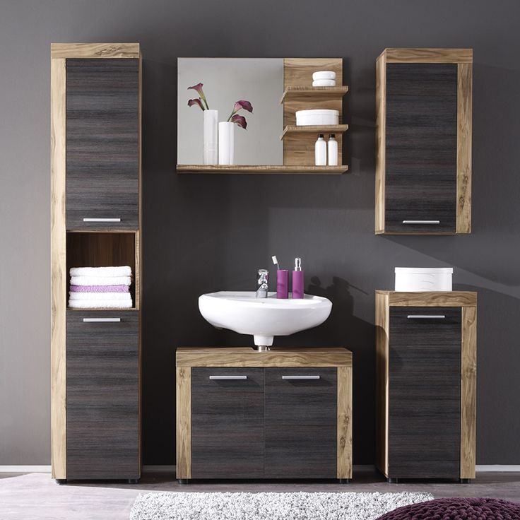 id e d coration salle de bain ensemble meuble de salle de bain bois et gris moderne bora. Black Bedroom Furniture Sets. Home Design Ideas