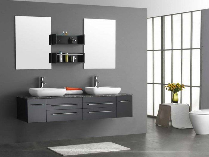 id e d coration salle de bain excellente suggestion salle de bain grise double vasque poser. Black Bedroom Furniture Sets. Home Design Ideas