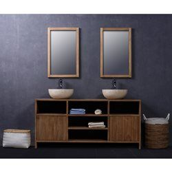id e d coration salle de bain meuble de salle de bain en bois de teck 160 cm 2 portes 5. Black Bedroom Furniture Sets. Home Design Ideas