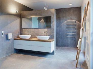 Id e d coration salle de bain recup salle de bain meuble for Meuble beton cire