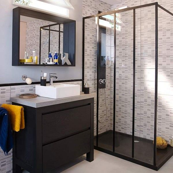 id e d coration salle de bain paroi douche look verri re d 39 atelier castorama. Black Bedroom Furniture Sets. Home Design Ideas