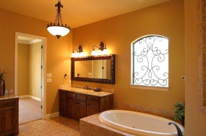 Id e d coration salle de bain peinture salle de bain jaune ocre qui tend vers l 39 orange - Idees salle de bains orange ...