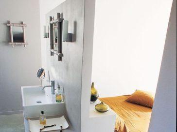 Id e d coration salle de bain salle de bains studio d for Tete de lit separation salle de bain