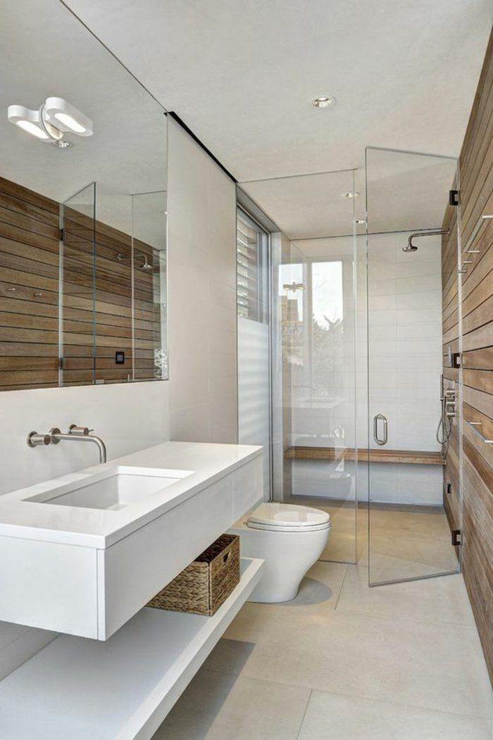 id e d coration salle de bain salle de bain en blanc et bois rev tement mural de bois et. Black Bedroom Furniture Sets. Home Design Ideas