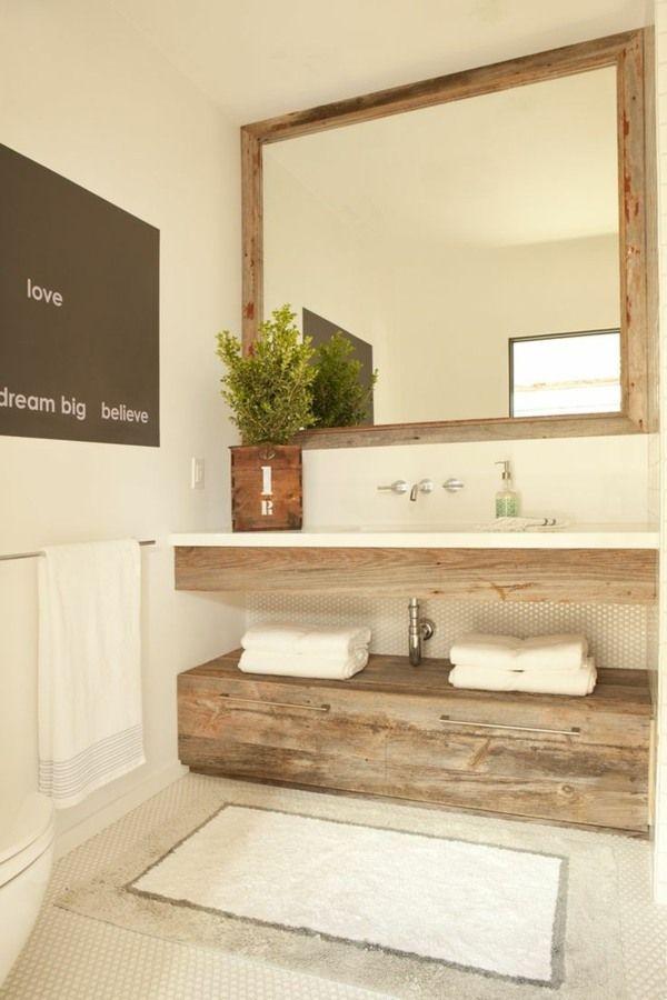 Idée décoration Salle de bain - Touches de bois dans une ...