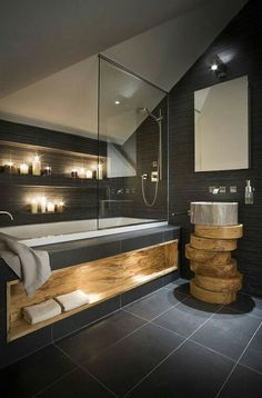 Id e d coration salle de bain une salle de bain coup de - Salle de bain gris anthracite et bois ...