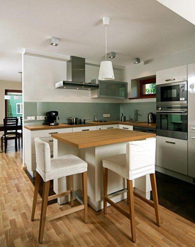id e relooking cuisine meubles de cuisine en blanc et bois clair avec cr dence en gris vert. Black Bedroom Furniture Sets. Home Design Ideas