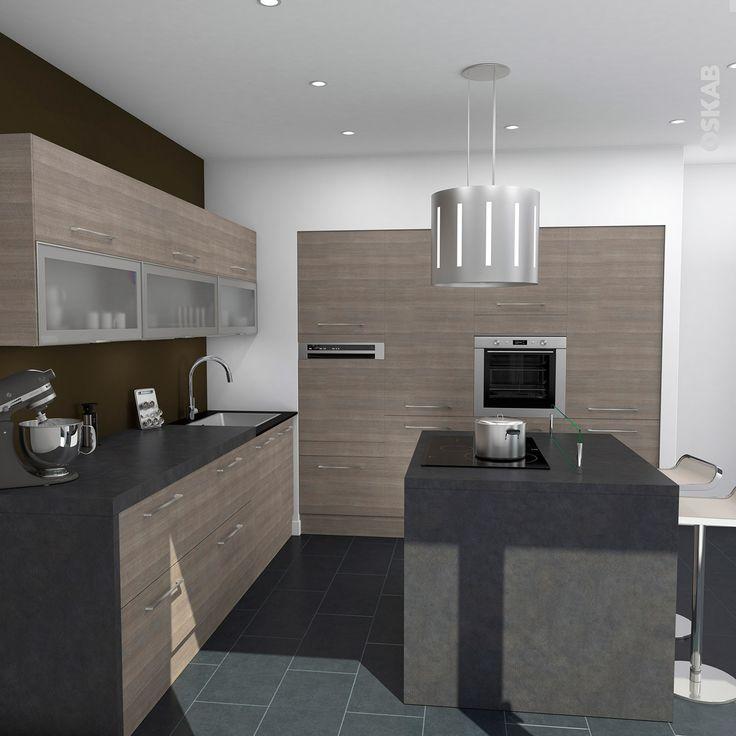 id e relooking cuisine cuisine contemporaine bois naturel implantation en l avec ilot central. Black Bedroom Furniture Sets. Home Design Ideas