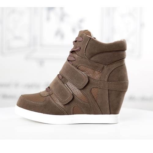 tendance basket 2017 basket femme montante marron compensees scratch high top sneakers fashion. Black Bedroom Furniture Sets. Home Design Ideas