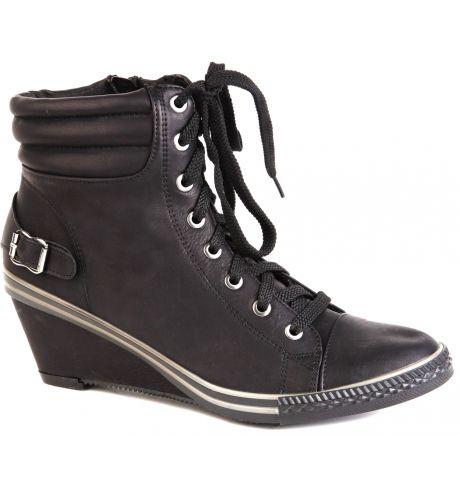 tendance basket 2017 chaussure basket femme compens e simili cuir noir lacets et zip bella. Black Bedroom Furniture Sets. Home Design Ideas