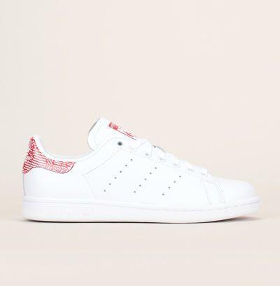 Blanc Sneakers Stan Smith Adidas Cuir Originals Contrasté Talon vaFTH