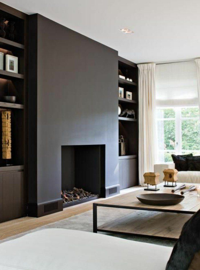 d co salon peinture mur salon de couleur gris fonc meubles bas leading. Black Bedroom Furniture Sets. Home Design Ideas