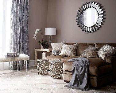 d co salon peinture salon couleur taupe et rideaux gris leading inspiration. Black Bedroom Furniture Sets. Home Design Ideas