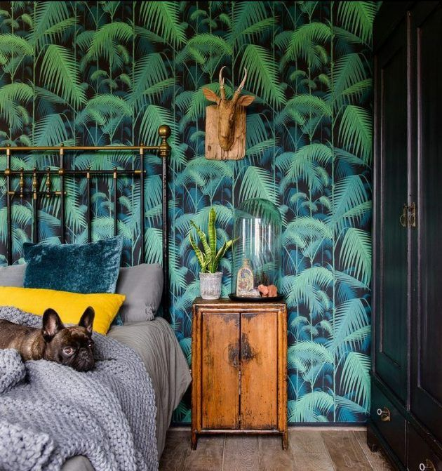 d coration nature chambre tropicale pan de mur feuilles vert bois chambre tropicale mur. Black Bedroom Furniture Sets. Home Design Ideas