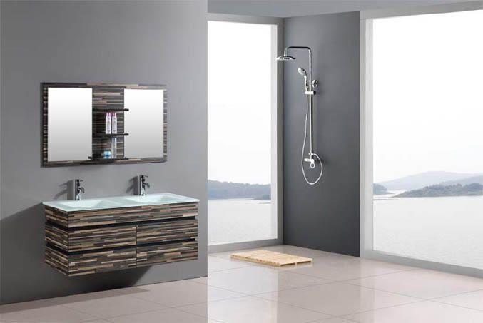 Id e d coration salle de bain ensemble meuble salle de bain bois massif camouflage 140cm grand - Grand meuble de salle de bain ...