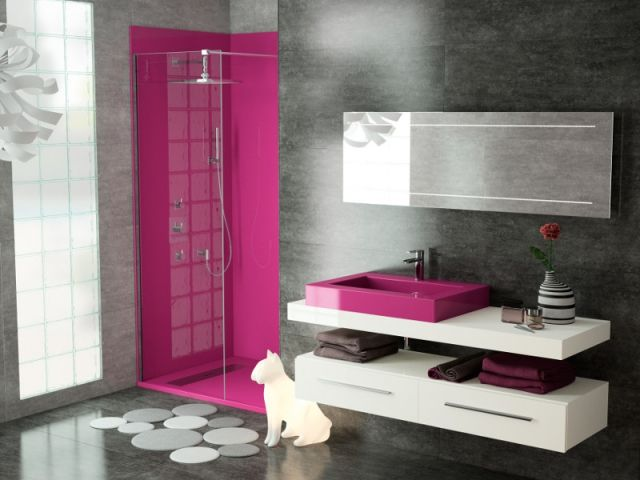 Id e d coration salle de bain le temps des salles de - Decoration salle de bain rose et gris ...