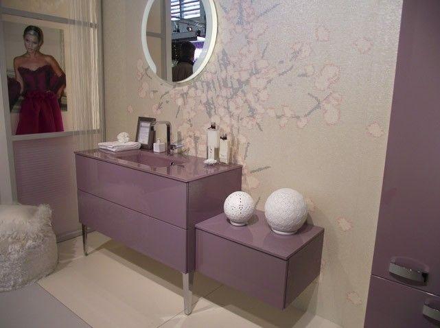 Idée décoration Salle de bain - Meuble salle de bains rose poudre ...