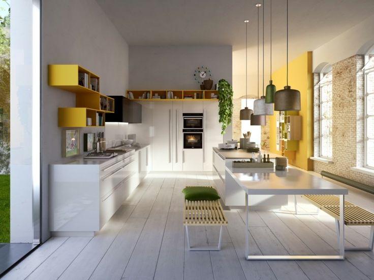 Idée relooking cuisine - cuisine blanche décorée avec des accents en ...