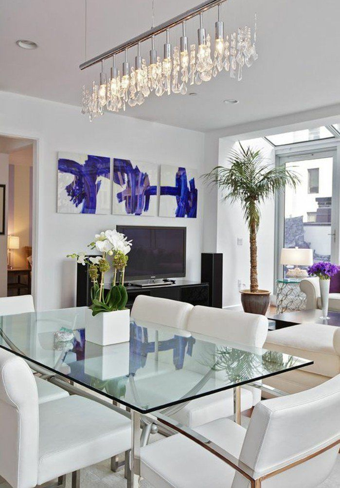 Salle manger meubles salle a manger table en verre - Plafonnier salle a manger ...