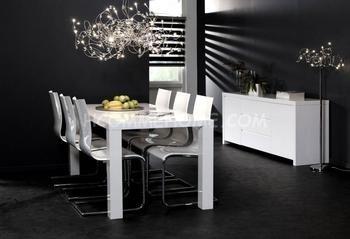 Salle à manger - Table de salle à manger blanche laquée ...