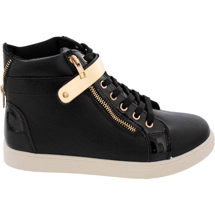 tendance basket 2017 soho girls women 39 s golden velcro sneakers black. Black Bedroom Furniture Sets. Home Design Ideas