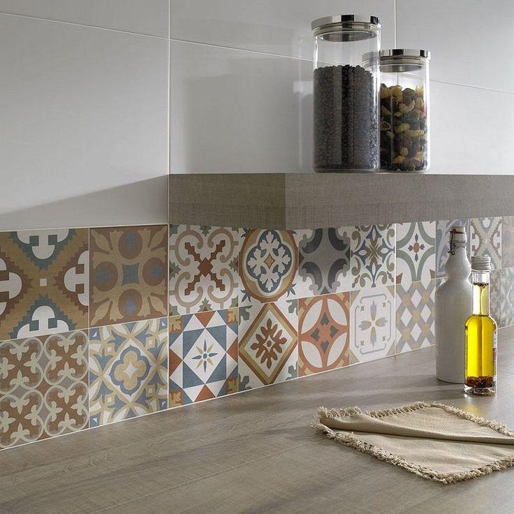 Id e relooking cuisine cr dence cuisine carreaux de ciment patchwork et artistique - Credence ardoise a coller ...
