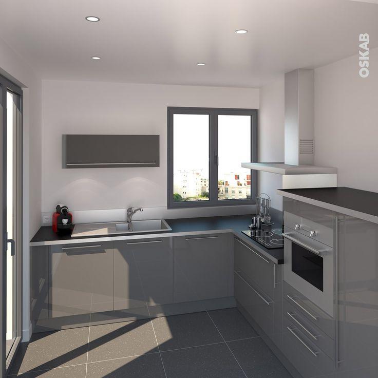 id e relooking cuisine cuisine petite et moderne grise en l plan de travail noir mat avec. Black Bedroom Furniture Sets. Home Design Ideas