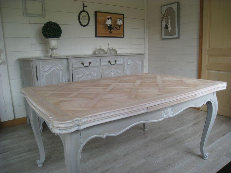 Id e relooking cuisine bahut r gence relook et sa table assortie 2 patines couleurs - Renover une table en bois en moderne ...