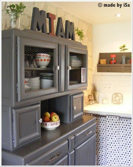 id e relooking cuisine joli buffet de cuisine mado gris annees 50 upcycled furniture from the. Black Bedroom Furniture Sets. Home Design Ideas