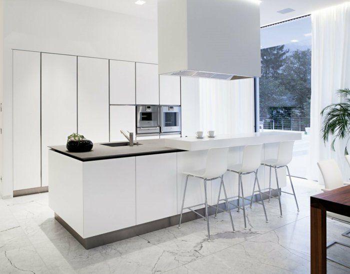Idée relooking cuisine - la plus belle cuisine blanche avec sol en ...