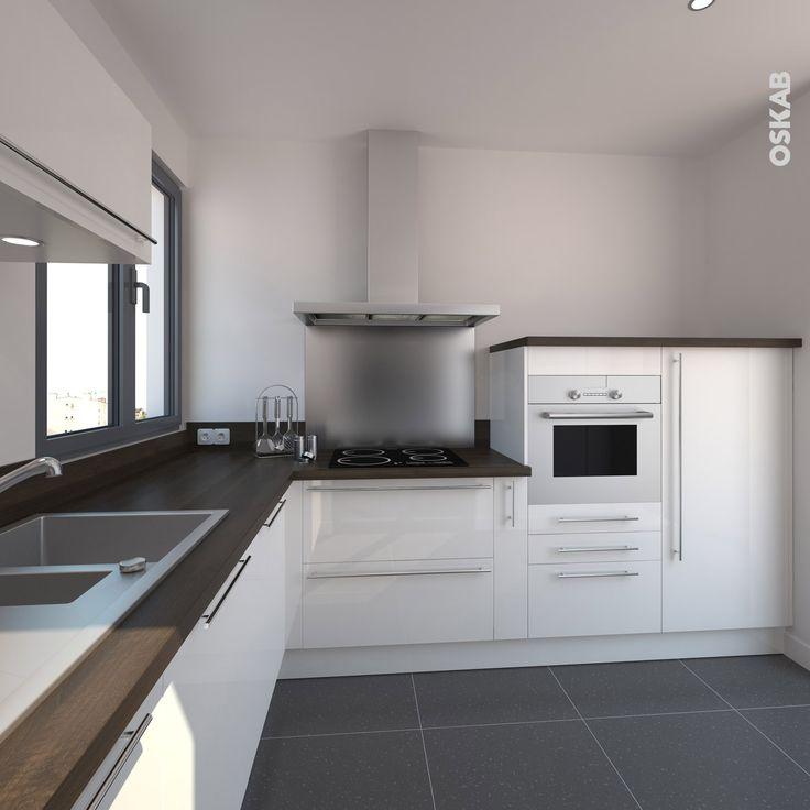 Id e relooking cuisine petite cuisine blanche et bois for Cuisine contemporaine en u