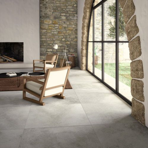 Salle manger carrelage de salon de sol en gr s c rame relief age gris natural by for Carrelage salle a manger salon