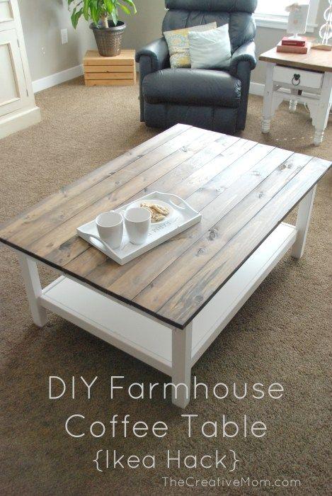 Salle manger diy farmhouse coffee table ikea hack for Ikea farmhouse table hack