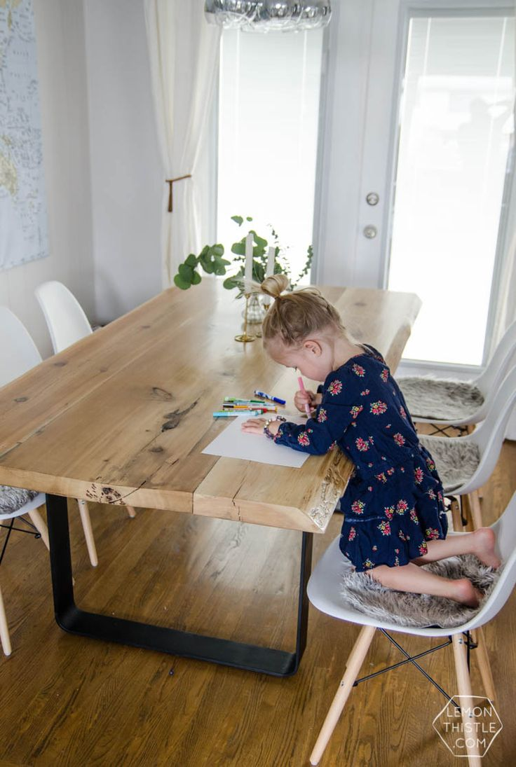 Description DIY Live Edge Wood Dining Room Table