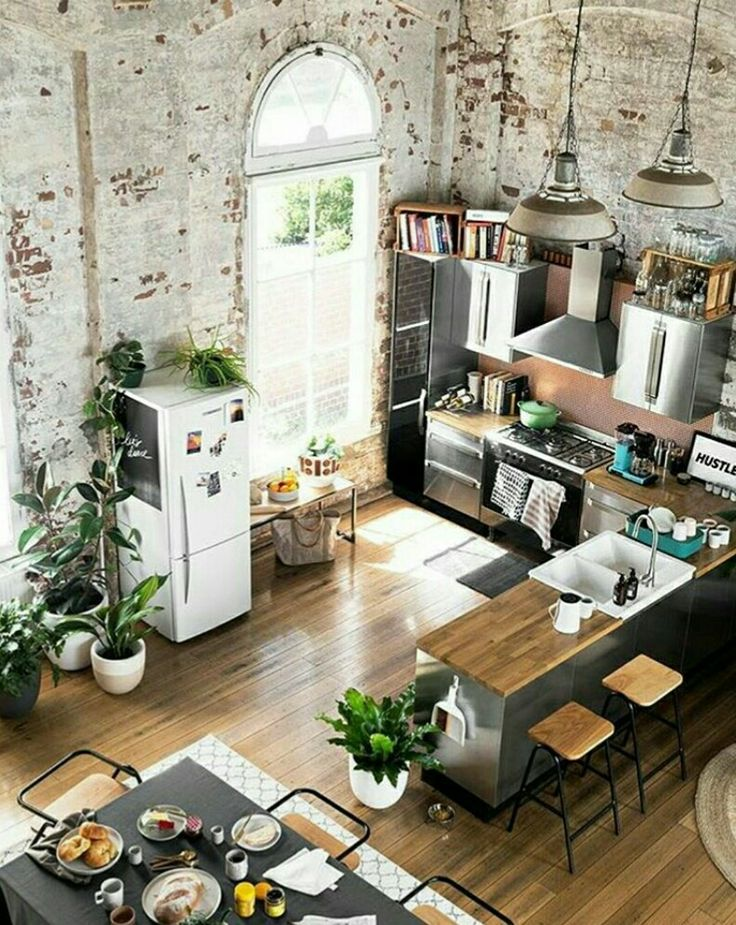 salle manger esprit loft pour cette cuisine ouverte sur la salle manger listspirit. Black Bedroom Furniture Sets. Home Design Ideas